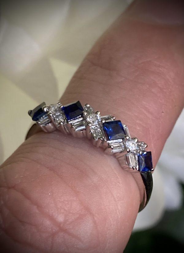 Princess Sapphire with Baguette Diamond Accents ACX618A