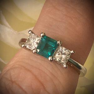 Emerald 0.58ct and Diamond 0.77ct Princess Trilogy Ring ACV2524