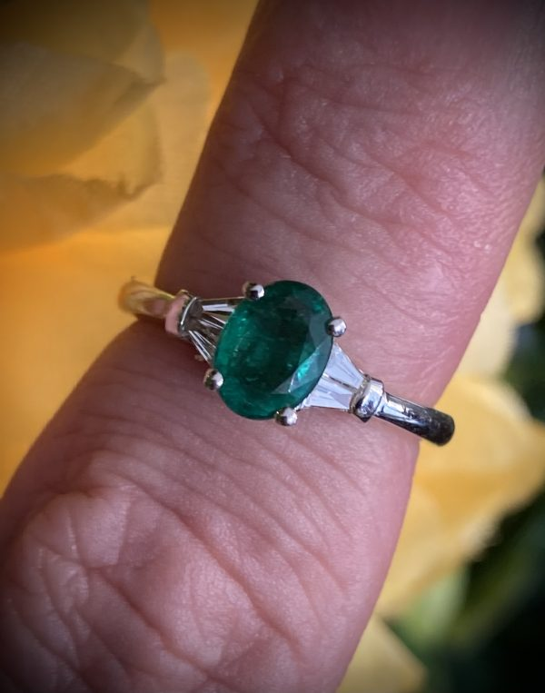 Oval Emerald Ring with Tapered Baguette Diamonds ACX925
