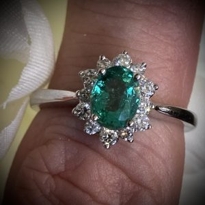 Oval Emerald and Diamond Cluster Ring ACV2976