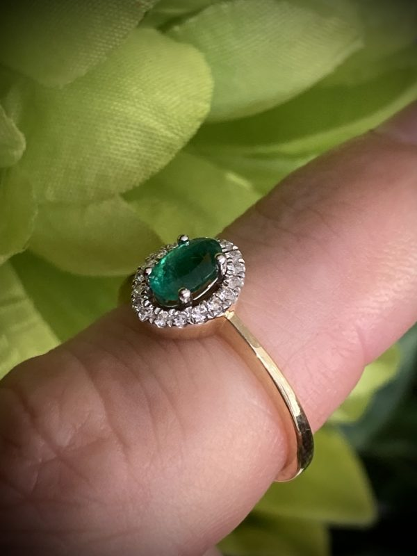 Oval Emerald Ring with Diamond Halo ACX792