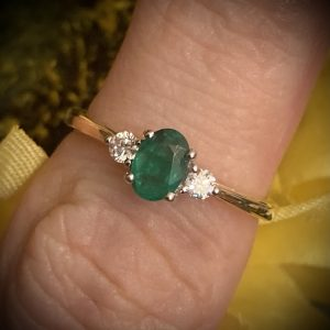 Oval Emerald 0.60ct Ring with Diamond Accents 0.10ct ACX790
