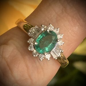 Art Deco Oval Emerald 0.81ct Ring with Diamond Accents 0.35ct ACX922
