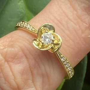 Flower Diamond Solitaire with Diamond Shoulders ACX891