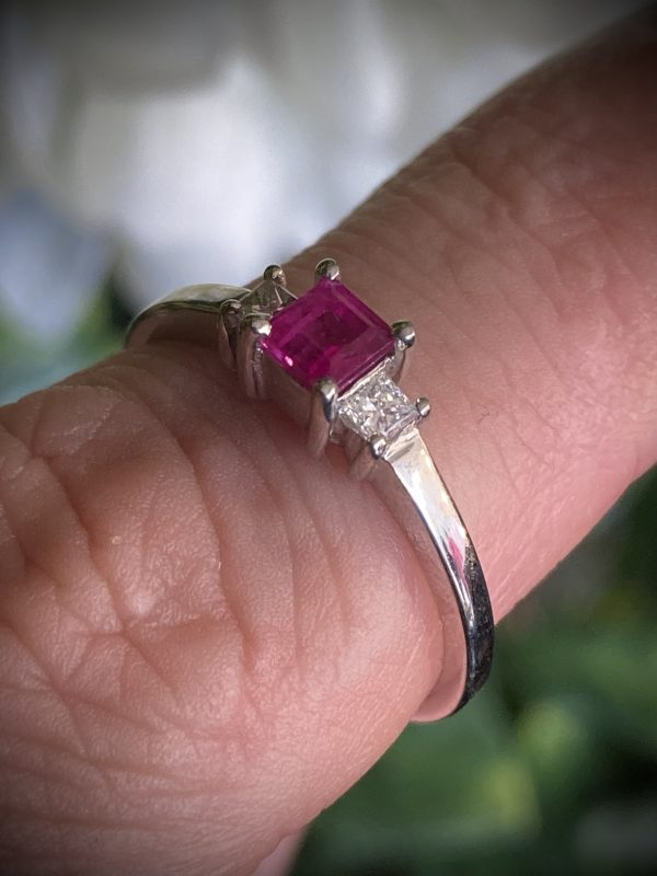 Princess Cut Ruby with Princess Diamond Accents ACX66