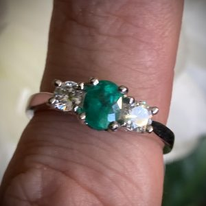 Emerald 0.55ct and Diamond 0.36ct Trilogy Ring ACV2975