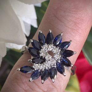 Sapphire and Diamond Swirl Cluster Ring ACVAPPA26A