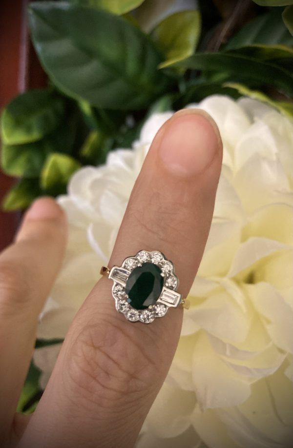 Emerald 1.13ct and Diamond Art Deco Ring ACV2591