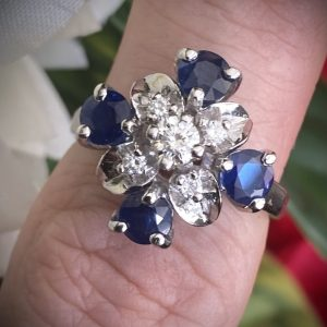 Sapphire and Diamond Flower Cluster Ring ACVAPPA222