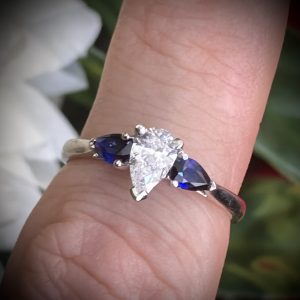 Pear Shaped Diamond 0.60ct with Pear Sapphire Accents ACVAPP2811