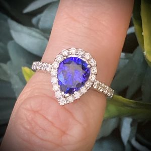 Pear Tanzanite with Diamond Halo and Shoulders ACVAPPV281