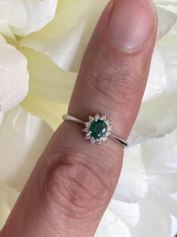 9ct White Emerald and Diamond Cluster Ring ACVE97476