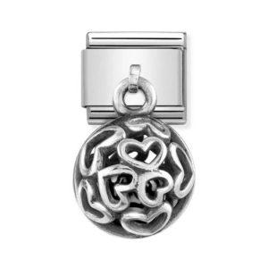 Nomination Silvershine Hearts with Black Swarovski Pearl Charm 331810/02