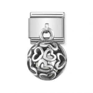 Nomination Silvershine Hearts with White Swarovski Pearl Charm 331810/01
