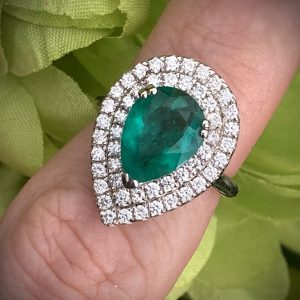 Pear Shaped 2.33ct Emerald with Diamond Halo 0.80ct ACVAPPV1890
