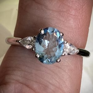 Oval Aquamarine 1.50ct with Pear Shaped Diamond Accents ACAPPV2838