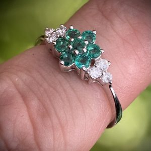 Emerald and Diamond Flower Cluster Ring ACVE910878