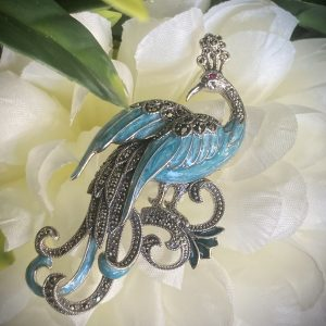 Silver Peacock Enamel and Marcasite Brooch ACPMBR041