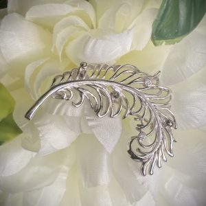 Silver Feather Marcasite and CZ Brooch ACPCBR110CZ